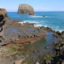 Küstenkunst der Natur an der Steilküste im Norden Madeiras